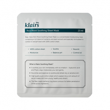 KLAIRS Rich Moist Soothing Sheet Mask ( maska nawilżająca w płacie) 23ml