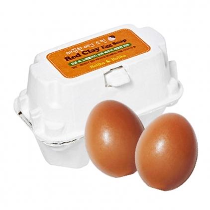 HOLIKA HOLIKA  Red Clay Egg Soap (mydełka do mycia twarzy z kaolinem)  50g x 2szt