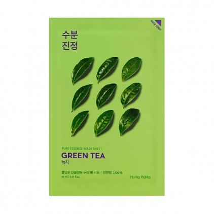 HOLIKA HOLIKA Pure Essence Mask Sheet GREEN TEA (maseczka nawilżająco-kojąca z ekstraktem z ZIELONEJ HERBATY w płacie) 20ml