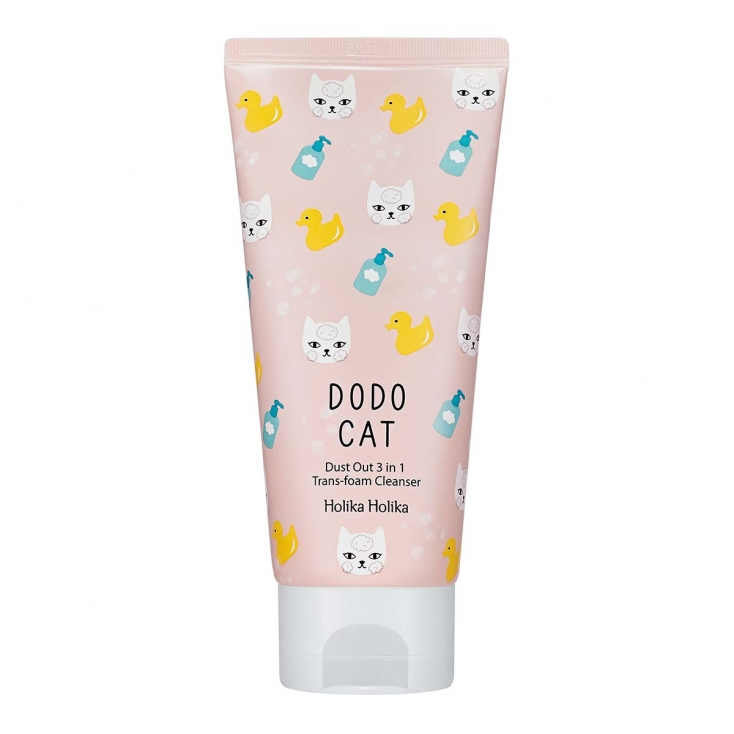 HOLIKA HOLIKA Dodp Cat Dust Out 3 in 1 Trans-foam Cleanser ( pianka do mycia twarzy z kaolinem) 120ml