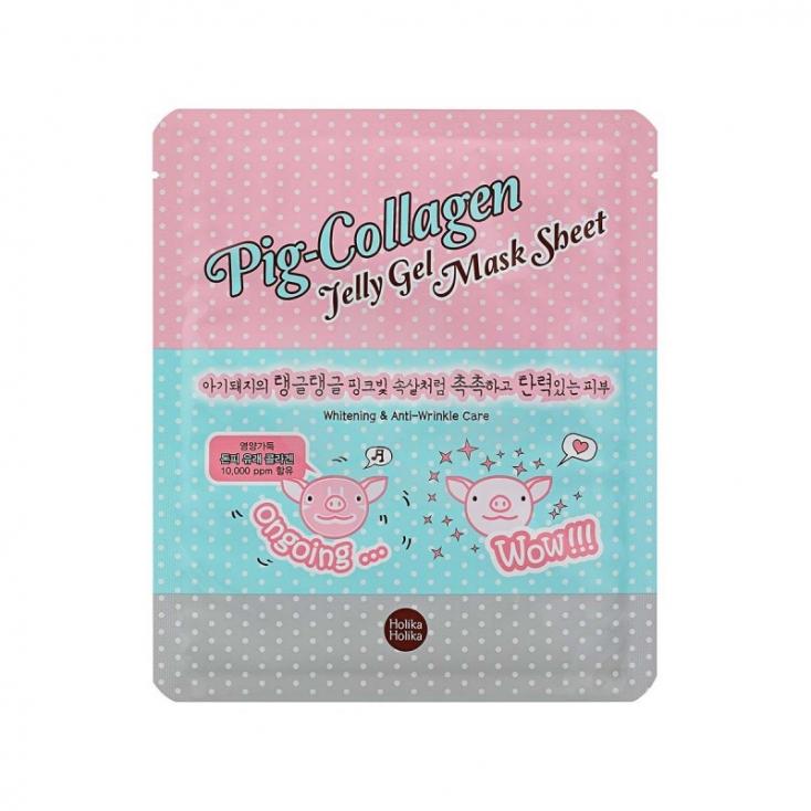 HOLIKA HOLIKA Pig-Collagen Jelly Gel Mask Sheet (maseczka w płachcie przeciwzmarszczkowa i rozjaśniająca  z kolagenem) 25ml
