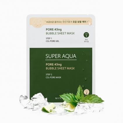 MISSHA Super Aqua Pore-Kling Bubble Sheet Mask (maseczka odswieżająca i dogłębnie oczyszczająca) 15g