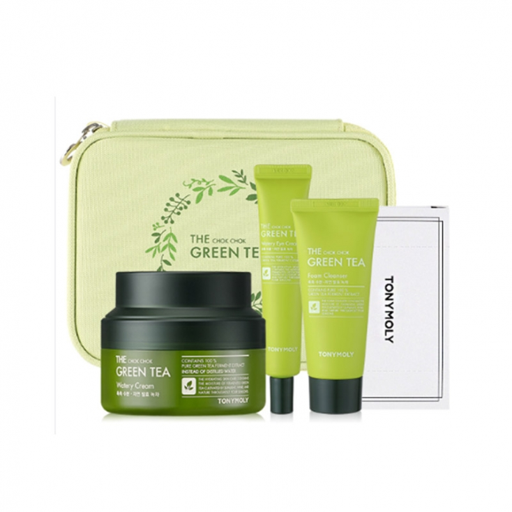 Tonymoly The Chok Chok Green Tea Safe Hydration Kit  - krem 60ml + pianka 50ml + krem pod oczy 30ml + plaster bawełniany 20