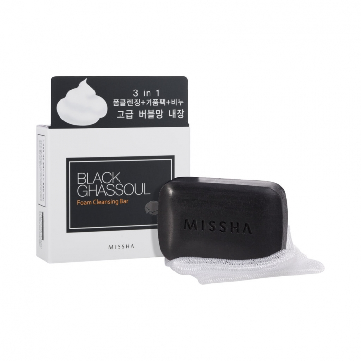 MISSHA Black Ghassoul Foam Cleansing Bar(mydło) 80g